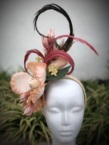 Peach Magnolia Fascinator Derby Hat