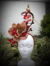 Beige and Red Magnolia Fascinator Derby Hat
