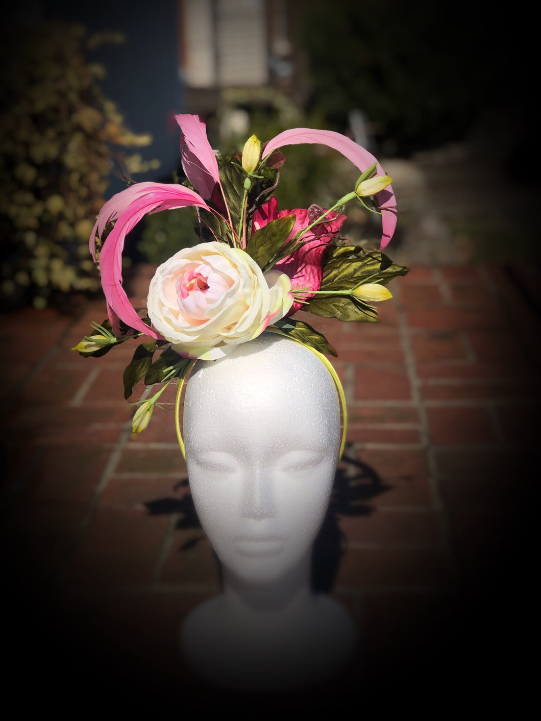 Yellow and Pink Fascinator Derby Hat