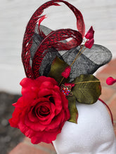 Red Rose Feathers Fascinator Derby Hat