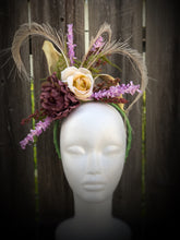 Purple Peony and Ivory Rose Floral Feather Fascinator Derby Hat