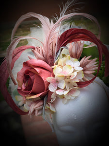 Blush Pink and Ivory Feather and Floral Fascinator