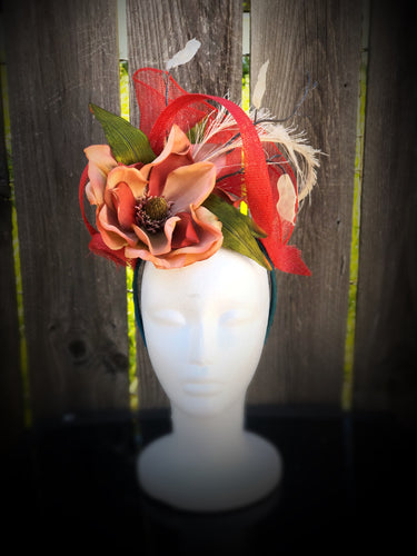 Red Sinamay Magnolia Fascinator Derby Hat