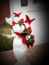 Red Butterfly with White Magnolia Large Fascinator Derby Hat