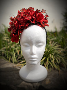 Red Crown Of Beaded Roses Fascinator Derby