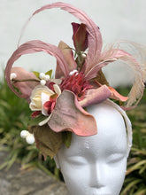 White Rose and Pink Magnolia Floral and Feather Fascinator