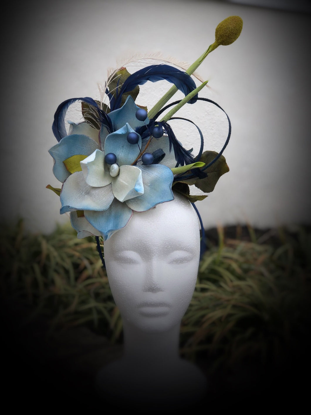 Deep Blue and Off White Floral Feather Fascinator
