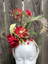 Deep Red and Cream Floral Feather Fascinator