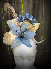 Blue Lily and Ivory Peony Feather and Floral Fascinator