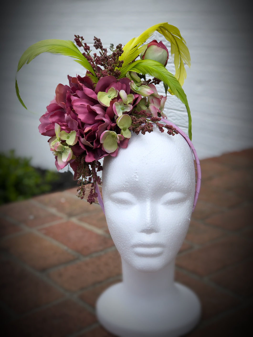 Purple Peony and Lime Green Feather and Floral Fascinator