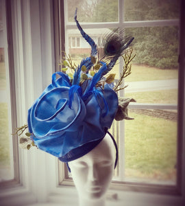 Royal Blue Large Fascinator Derby Hat