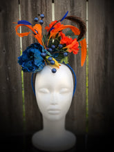 Royal Blue Peony with Orange Floral Feather Fascinator Derby Hat