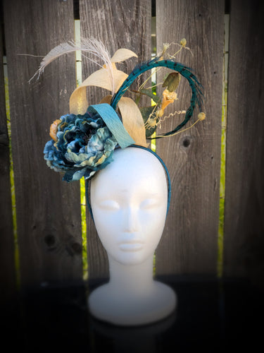 Turquoise and Ivory Sinamay Peony Fascinator Derby Hat