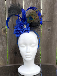 Royal Blue and Black Floral and Feather Fascinator Derby Hat