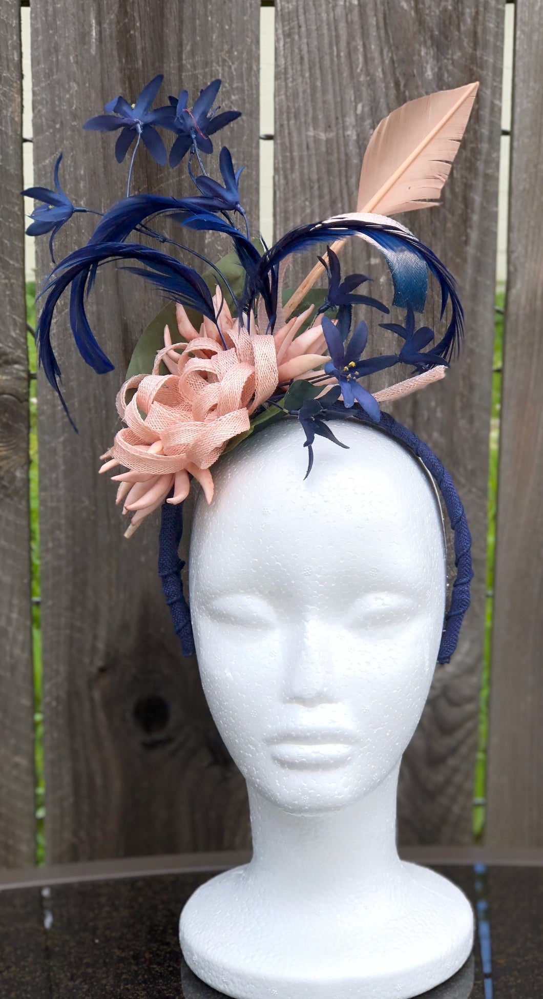 Blush Pink Navy Sinamay Floral and Feather Fascinator Derby Hat