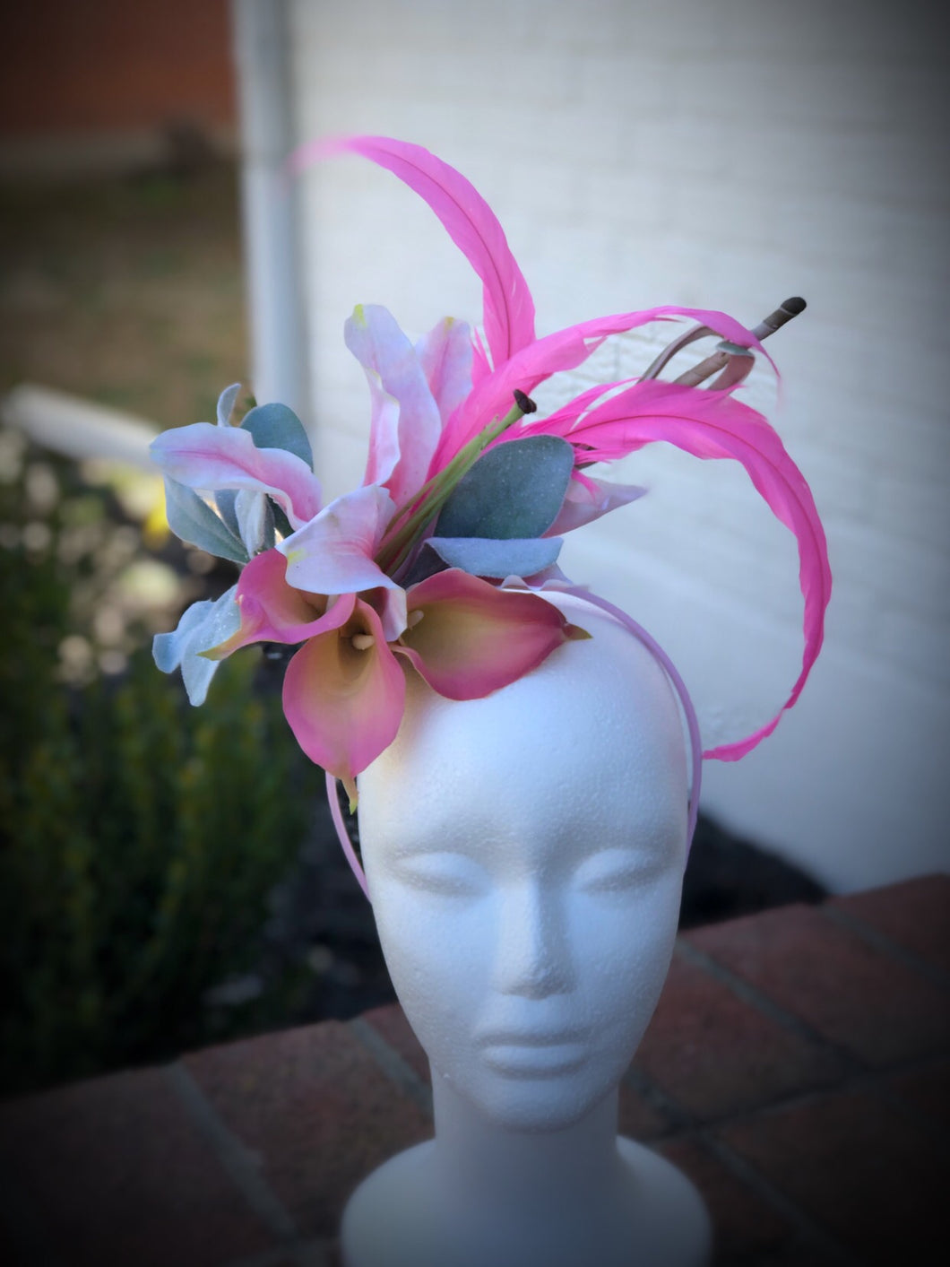 Pink Lily Calla Lily Floral Feather Fascinator