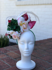 Green Hydrangea and Pink Rose Fascinator Derby Hat
