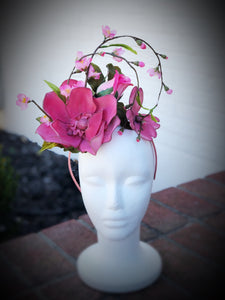 Pink Power Magnolia Fascinator Derby Hat