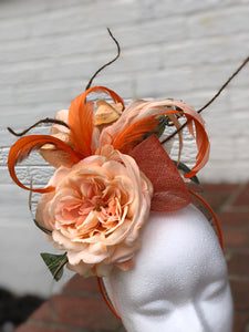 Peach and Orange Fascinator Derby Hat