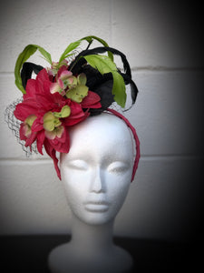 Hot Pink Lime Green and Black Floral and Feather Fascinator Derby Hat