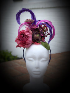 Purple Monochromatic Feather and Floral Fascinator