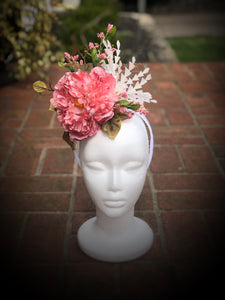 Pink and White Sculpted Feather Fascinator Derby Hat