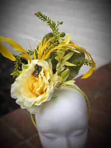 Yellow Rose Fascinator Derby Hat