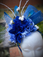Royal Blue and White Floral Fascinator