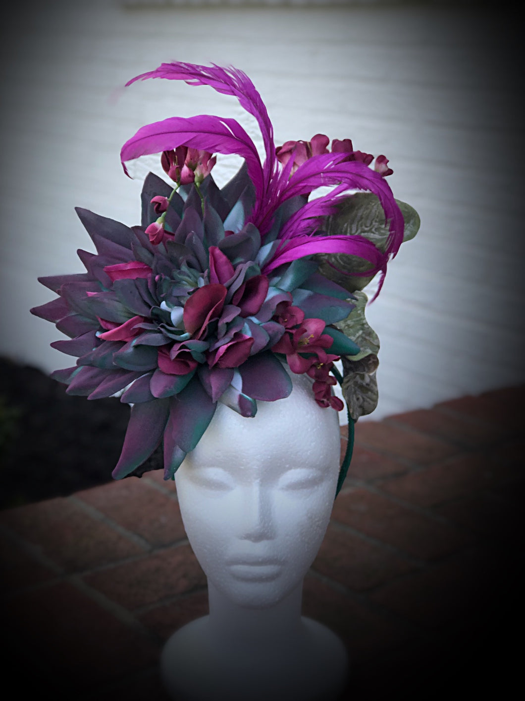 Large Teal and Purple Statement Feather and Floral Fascinator