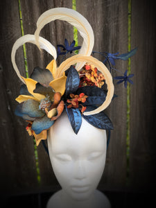 Navy Magnolia Ivory Feather and Floral Fascinator Derby Hat