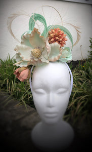 Aqua Ivory and Peach Large Magnolia Fascinator Derby Hat