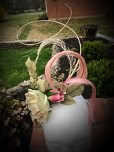 Ivory, Pistachio, and Blush Pink Rose Fascinator Derby Hat