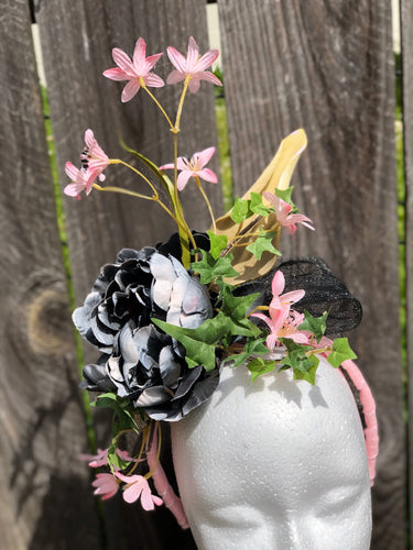 Black and Pink Peony Fascinator Derby Hat