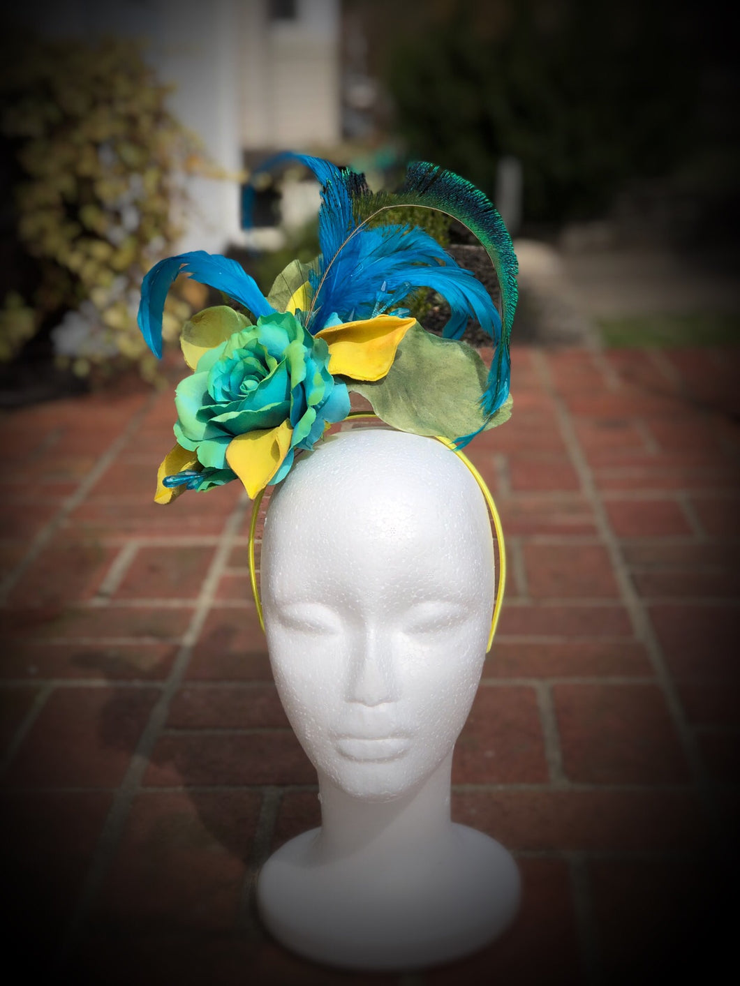 Turquoise and Bright Yellow Floral Feather Fascinator