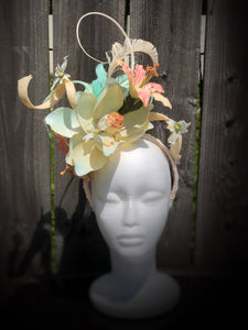 Aqua Ivory and Pink Large Magnolia Fascinator Derby Hat