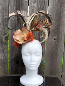 Natural Magnolia Ivory Feather and Floral Fascinator Derby Hat