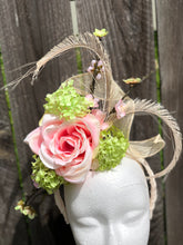 Soft Pink and Lime Green Floral and Feather Fascinator Derby Hat