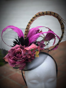 Purple Rose Black Fascinator Derby Hat Fascinator