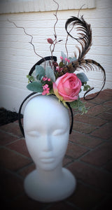 Coral Pink and Black Large Fascinator Derby Hat