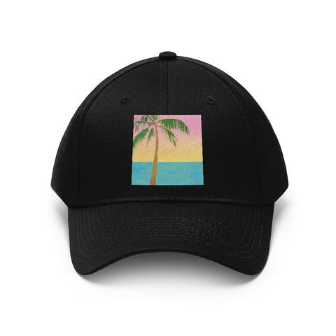 Tropical Palm Tree Scene - Unisex Twill Hat