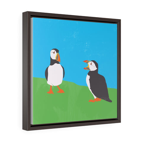 Puffins - Square Framed Premium Gallery Wrap Canvas