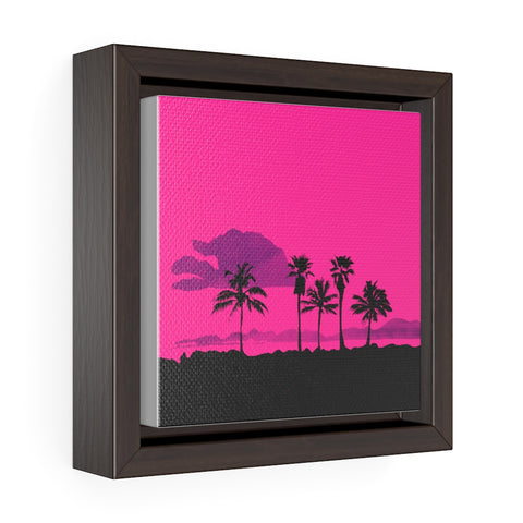 Palm Tree Scene - Square Framed Premium Gallery Wrap Canvas
