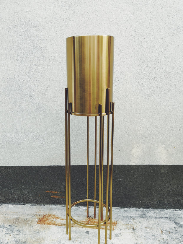 METAL POT ON STAND - GOLD (S)