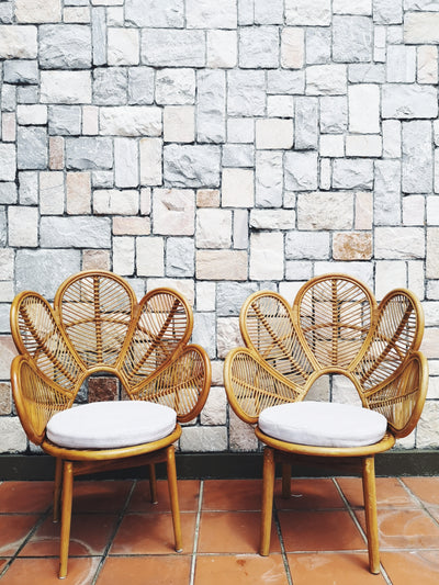 RATTAN FLOWER CHAIRS (PAIR)