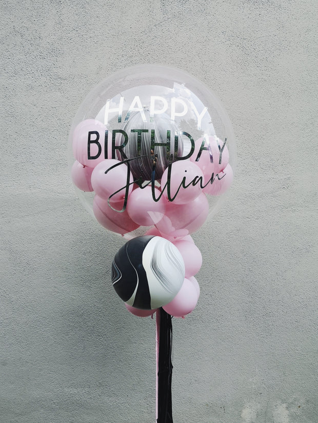BUBBLE BALLOON - MARBLE & PINK