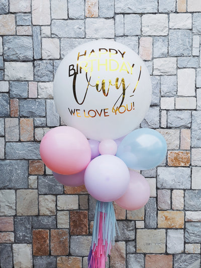Jumbo Latex Balloon - White Pastel Combo
