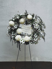 Wreath Flower Stand - White