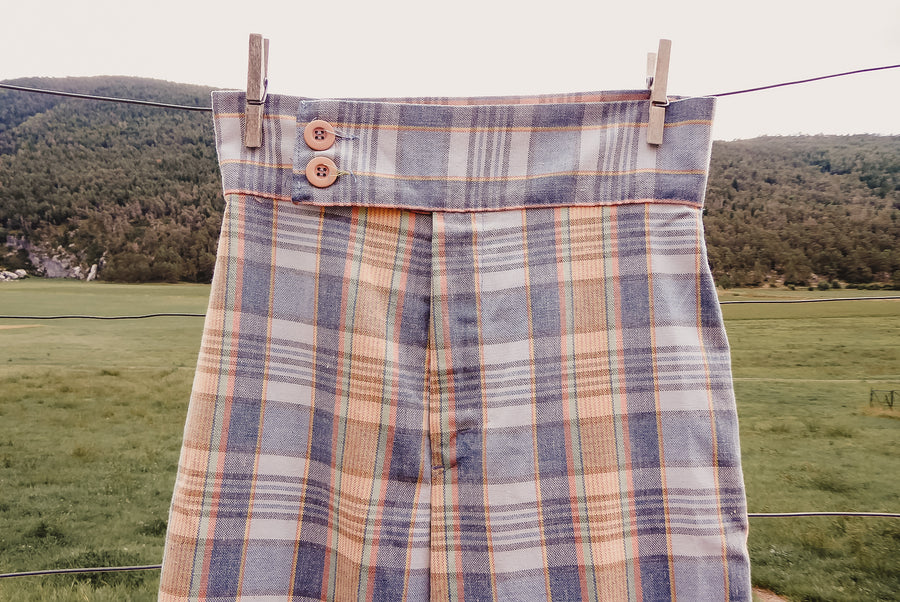 Pastel plaid bell bottom