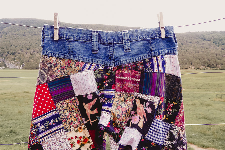 quilt patchwork bell bottom jeans