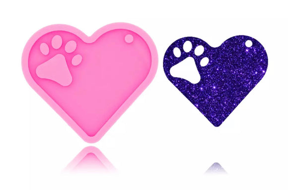 Heart with Paw Silicone Mold